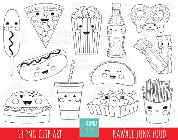 50 Verkauf Junk Food Stempel Digi Stempel Kommerzielle Etsy