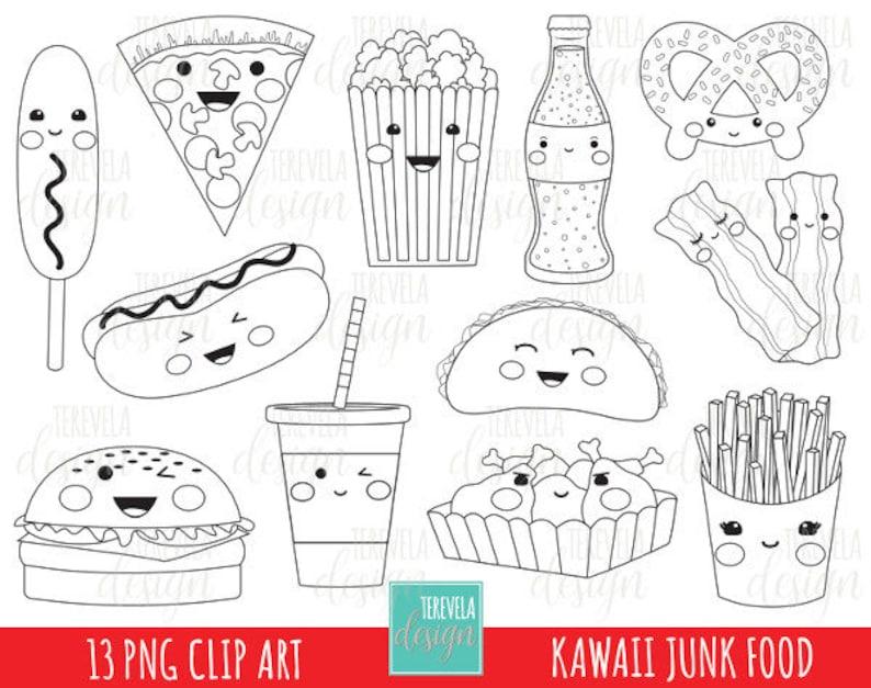 Coloriage Nourriture Kawaii.50 Vente Junk Food Stamp Digi Stamp Utilisation Etsy