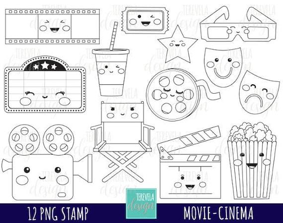 50 Sale Cinema Digitale Briefmarken Film Digi Stempel Kommerzielle Nutzung Film Färbung Seite Kawaii Clipart Film Grafiken