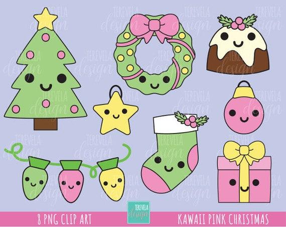 Kawaii Christmas.50 Sale Kawaii Christmas Clipart Pink Christmas Clipart Commercial Use Christmas Graphics Santa Clause Cute Christmas Santa Clause