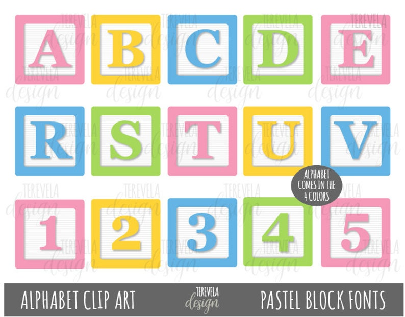 PASTEL BLOCKS FONTS Clipart, Alphabet Clip Art, kids blocks Clip Art,  Printable, baby fonts, commercial use, block toys, kids letters, cute