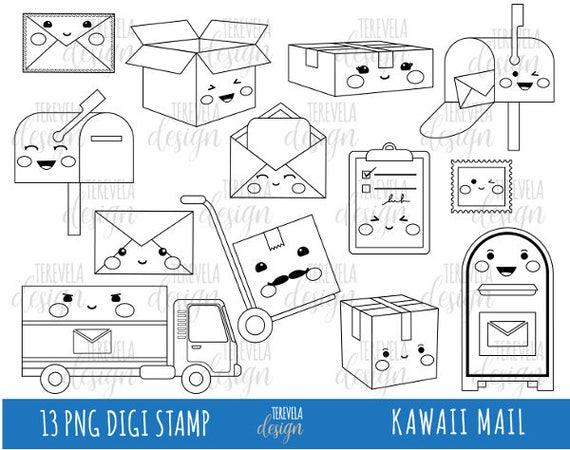 50 Sale Mail Digi Stempel Postamt Briefmarken Kommerzielle Nutzung Kawaii Digi Stempel Glücklich Post Clipart Post Schwarze Linien Paket