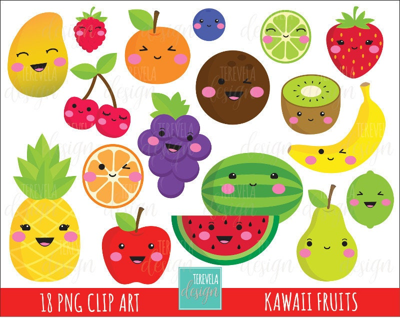 50% SALE kawaii FRUIT clipart commercial use cute clipart ...