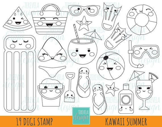 50% SALE SUMMER digital stamp beach stamp commercial use | Etsy
