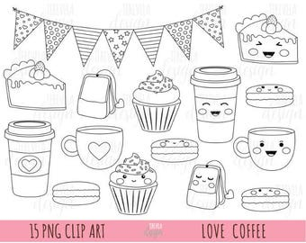 50% SALE love digitl stamp, love coffee stamp, commercial use, valentine's day digi stamp, desserts, macarrons, cute stamps