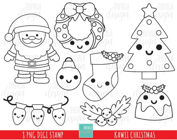 50 Sale Kawaii Christmas Stamp Commercial Use Kawaii Stamp Etsy