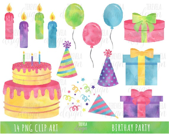 Watercolor Birthday Clipart Party Clipart Commercial Use Etsy