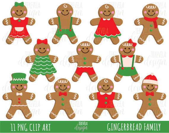 Ginger Cookies Christmas Cookies Clipart Christmas Clipart Commercial Use Kawaii Christmas Ginger Bread Gingerbread Family Xmas