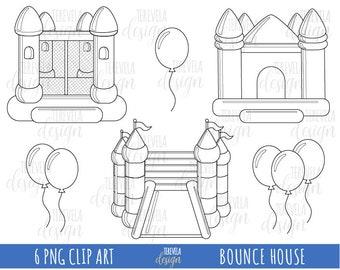 50% SALE BOUNCE digital stamps, bounce digi stamps, commercial use, coloring page, balloons clipart, cute graphics, bouncing house, party