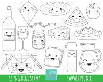 50% SALE PICNIC digital stamps, picnic digi stamps, commercial use, coloring page, food clipart, cute graphics, food stamps, picnic basket