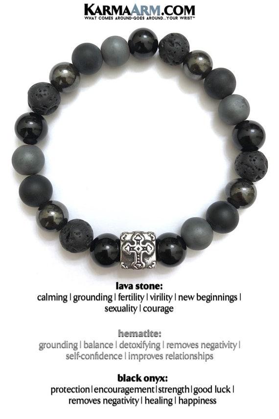 Fearless : CZ Black Diamond Gold Balls KarmaArm Beaded Lava Wristband Meditation Jewelry Yoga Reiki Healing Energy Boho Chakra Wrap Stretch Jewelry /& Zen Diffuser Gifts