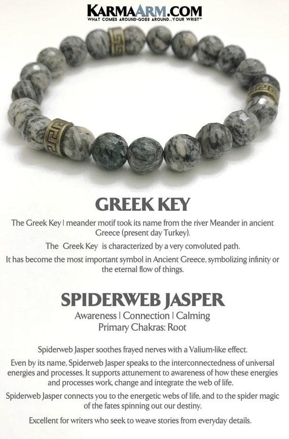 Keep Calm Spiderweb Jasper Greek Key Beaded Bracelets Mens Etsy