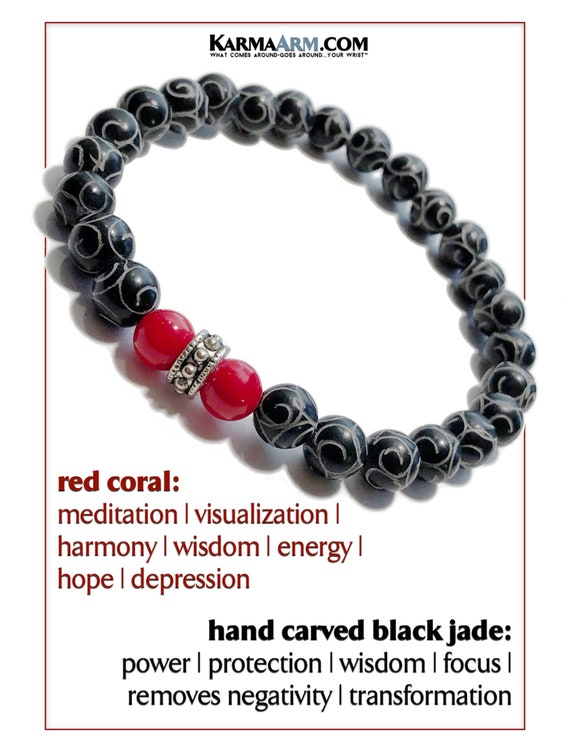 KarmaArm Calming Bracelet Natural White Jade Calm Hematite Beaded Meditation Spiritual Stretch Mantra Reiki Healing Energy Boho Chakra Wrap Yoga Buddhist Jewelry /& Gemstone Gifts