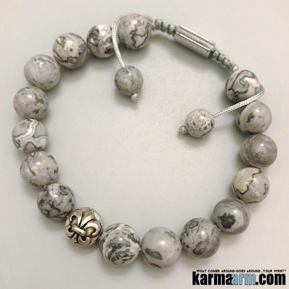 KarmaArm Love Bracelet Wellness Self-Care Bracelets Love Bead Going The Distance: Silver Crazy Lace Agate Chakra Yoga Reiki Healing Energy Meditation Jewelry