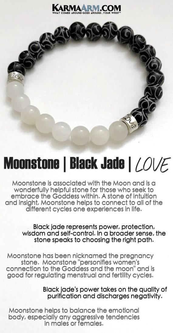 Wisdom Natural Black Moonstone Bracelets Beaded Meditation Spiritual Stretch Mantra Reiki Healing Energy Boho Charm Chakra Wrap Yoga Jewelry /& Gemstone Gifts Lucky Elephant Bracelets
