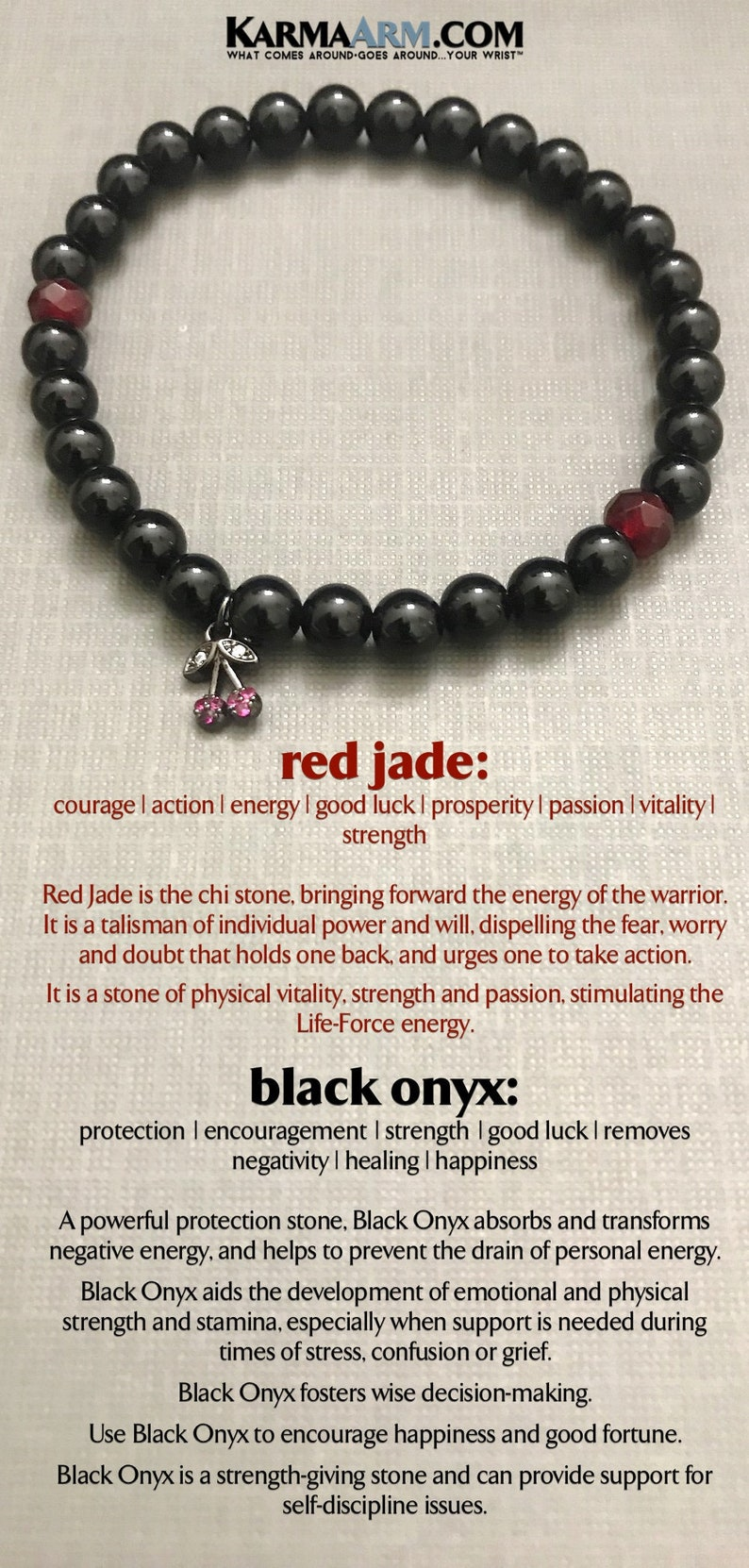 Beaded Bracelets, Boho Bracelets, Reiki Healing Mens Bracelets, Womens  Jewelry Handmade in Hollywood, JOY: Black Onyx | Red Jade | Cherries