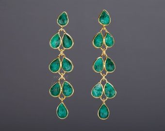 Five tier emerald earring,Long dangle emerald earring,emerald leaflet string,real gemstone,May birthday earring,mother gift,anniversary gift