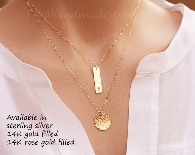 Personalized double layered hammered disc Bar necklace,Bar Monogram Necklace,hammered disc tag necklace,Gold, Initial Rectangle necklace