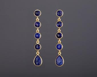 Five sapphire earring,Long drop sapphire earring,dangle swing bead string,Sept birthday,deep blue earring,Mother's Day gift,anniversary gift