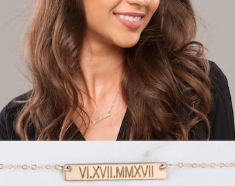 Engraved Custom Name Necklace, Mothers Necklace Wedding date Horizontal long Bar nameplate necklace with Roman Numerals,