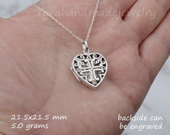 sterling silver heart locket,aromatherapy heart locket,Custom engraving,anniversary necklace,Valentine girlfriend gift,custom note card