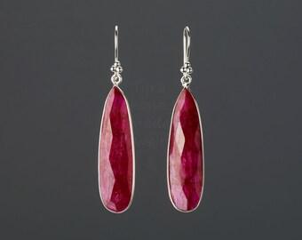 Long Ruby earrings,long ruby earring,teardrop earrings,Large faceted ruby earring,birthday gift,mother gift,custom note card