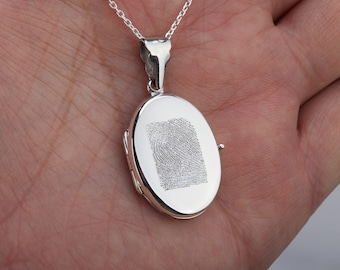 Finger print,hand writing, quote,Personalized sterling silver locket,Memory locket,Photo locket necklace,engraved drawing picture locket