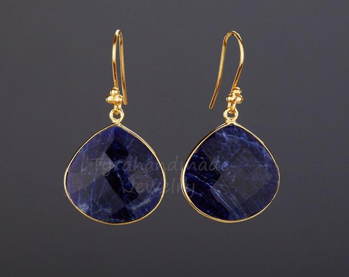 Large lapis lazuli earring,Large blue gemstone earrings,heart bezel faceted lapis lazuli earring,Mother's Day gift,December birthday gift.