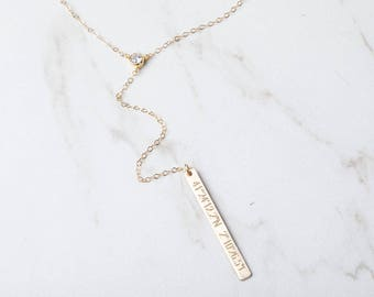 Long layered CZ stone diamond by the yardd engraving bar drop necklace,Bar Lariat Necklace,Minimal Y bar Necklace