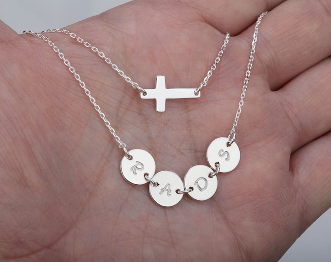 Personalized double layer cross necklace,hand stamped Initial Necklace,Sideways Cross,custom font,monogram connector,family initials,sisters