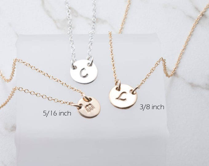 Custom initial necklace,Tiny dot initial disc,Everyday initial Tag necklace,Bridesmaid gifts,silver/gold/rose gold,best friend gift
