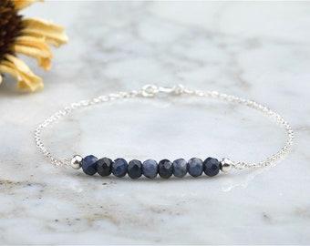 Silver/Gold Sapphire bar bracelet,September birthstone bracelet,Minimal bar bracelet, gemstone bar bracelet, minimal bracelet