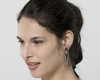 Two tier triangle amethyst earrings,Framed February stone,purple amethyst gemstone earring,Large faceted amethyst dangle earring,anniversary