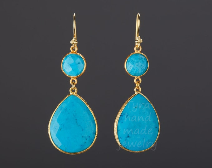 Large turquoise earrings,two tier turquoise dangle earring in Gold,Large faceyd turquoise  earring,December birthstone earring,birthday gift