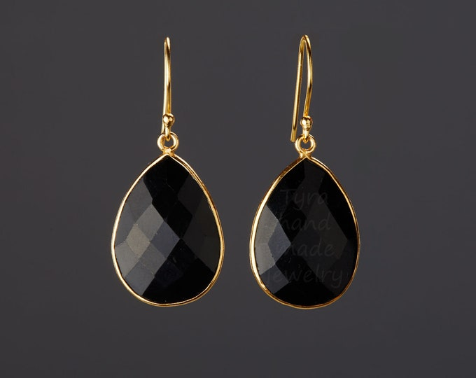 Large Black onyx Gold earrings,Large pear gemstone earrings,real teardrop nature stone,Faceted black onyx earrings,birthday gift,mother gift