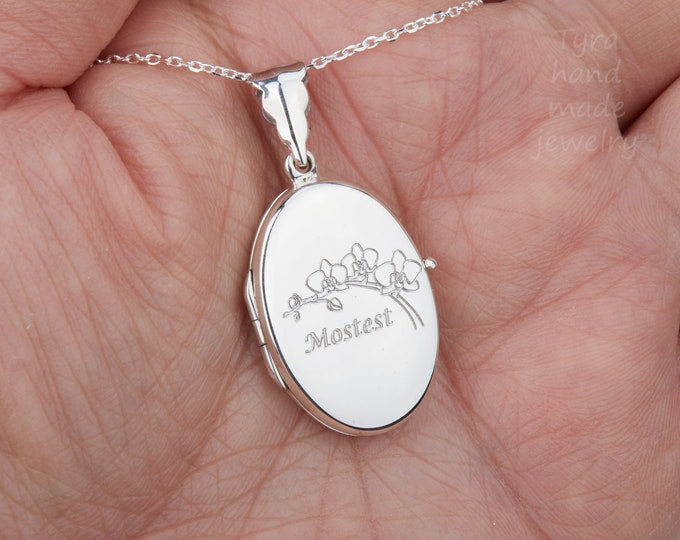 Engraved sterling silver oval locket with photo,remembrance locket,Photo locket,memorial locket,Quote locket,mother's day gift,anniversary