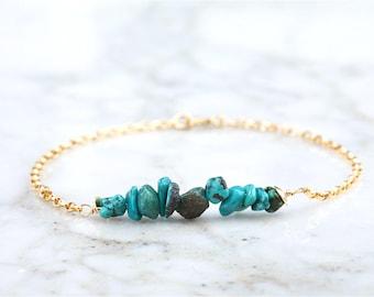 Silver/Gold turquoise bar bracelet,December birthstone bracelet,Minimal bar bracelet, gemstone bar bracelet, minimal bracelet