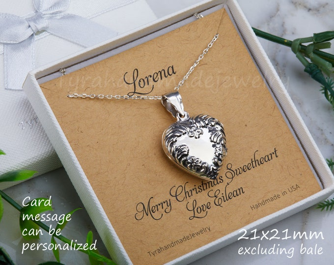 Sterling silver heart photo locket,Antique Victorian heart locket,vine border,memorial necklace,Valentine girlfriend gift,custom note card