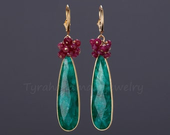 Large emerald earrings,long emerald earring,two tier ruby beads cluster earrings,two birthstones,birthday gift,mother gift,custom note card