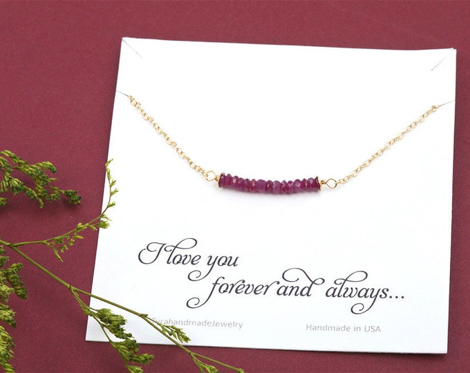 July gemstone bar necklace,Gemstone bar necklace,Silver/gold/rose gold/Gemstone Necklace,Birthstone Necklace , Tiny Gemstone Necklace