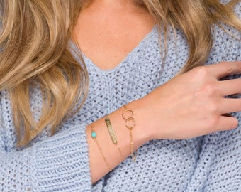 Set of 3 layered bar circle turquoise bracelet,custom gemstone birthstone bracelet,Custom engraved coordinates bar,karma circles bracelet
