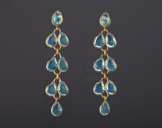 Five tier topaz blue quartz earring,Long dangle quartz earring,topaz blue leaflet string,willow branch,Mother's Day gift,anniversary gift