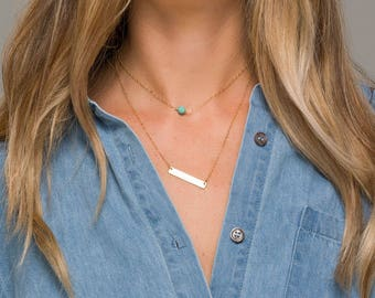 Personalized double layered turquoise engraving Bar necklace,Birthstone choker,GPS bar necklace,Coordinate necklace,Custom Coordinates