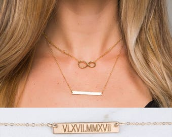 Personalized Infinity bar necklace, double layered infinity Bar Necklace, Contemporary ,Location Necklace ,Coordinates Necklace,Figure eight