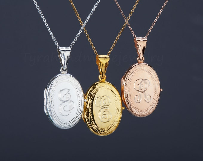 custom engrave gold oval photo locket,Personalized rose gold Locket,etched border,remembrance locket,Memory locket,mother anniversary gift