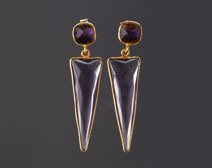 February framed earrings,purple amethyst gemstone stud earrings in Gold,Large faced amethyst dangle earrings