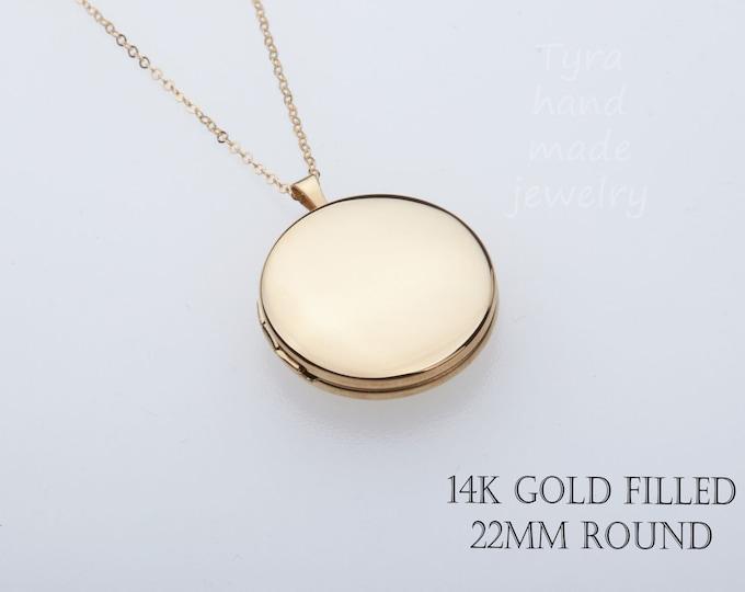 Large 14K Gold Filled round photo locket,custom engraving,remembrance locket,Memory locket,bereavement gift,anniversary gift,Mother locket