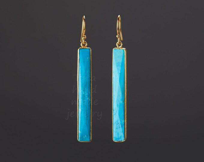 Long bar turquoise earrings,large faceted nature stone earring,long dangle strip earring,December birthday gift,mother gift,custom note card