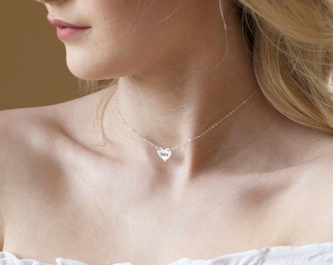 Monogram letter heart choker sterling silver necklace,Heart pendant choker necklace,personalized heart choker necklace,