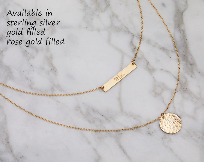 Personalized  double layered necklace,engraved bar,hammered disc,GPS necklace,Location Necklace,Roman numeral bar,Coordinates Necklace